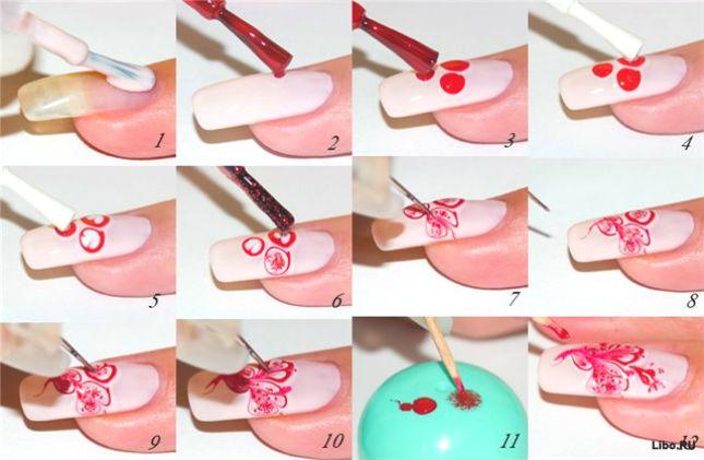 Как накрасить узоры на ногтях в домашних условиях
